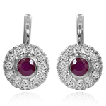 Ruby & Diamond Russian Style Earrings 585