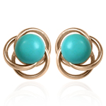 14K Gold Turquoise Knot Studs