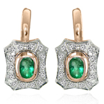 Russian stye Emerald Diamond Earrings 585