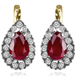 14K Gold Lab Created Ruby Diamond Earrings