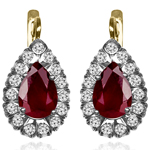 14K Gold Genuine Ruby Diamond Earrings
