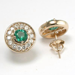 14k Gold Emerald Diamond Stud Earrings