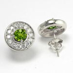 14k Gold Diamond Peridot Stud Earrings