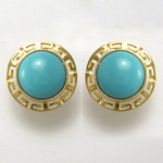 18k Gold Turquoise Stud Earrings