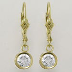 Fancy 14k Yellow Gold CZ dangling earrings