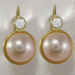 14k Gold 8mm Pearl Earrings with CZ