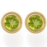 14k Gold Fancy Peridot Stud Earrings