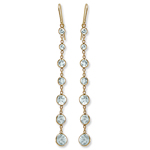 14k Gold Aquamarine Dangling Earrings
