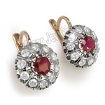 Ruby & White Sapphire Russian Style Earrings 585