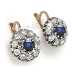Russian Style Blue and White Sapphire Earrings 585