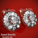 Russian Style White Topaz Earrings 585