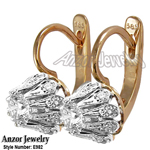 Genuine Diamonds, Russian Style Earrings 14k