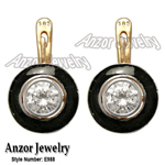 Russian Style White Topaz Enamel Earrings 585