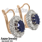 Russian Style Sapphire & Diamond Earrings 585
