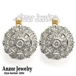 Russian Style genuine Diamond Earrings 585 14K