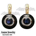 Russian Style Blue Sapphire Enamel Earrings 585