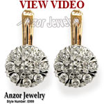 Russian Vintage Style malinka diamond earrings 585