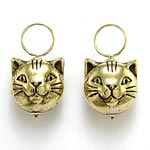 14k Gold Cat Earring Charms