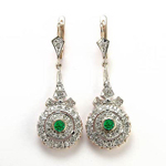 Diamond & Emerald Earrings Russian jewelry 14k