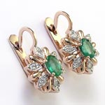 Russian Style Diamond Emerald Earrings 14k Gold