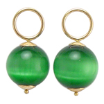 14k Gold Green Cats Eye Charms