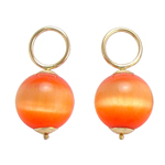 14k Gold Orange Cats Eye Stone Charms 10mm