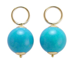 14k Gold Turquoise Charms 12mm