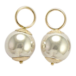 14k Gold and Sterling Silver Earrings Charm 10mm