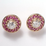 14k Gold Ruby & Topaz Earrings