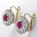 Russian Style Ruby & Diamond Earrings 585