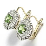 Russian Style Diamond Peridot Earrings 585