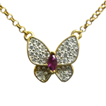 14k Gold Butterfly Ruby and Diamond Necklace
