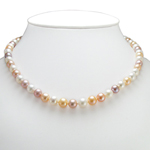 Genuine Three Colors Pearls Necklace