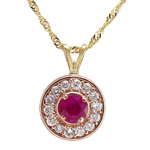 14k Gold Diamond and Ruby Pendant