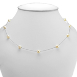 14k Gold White Pearl Chain Necklace