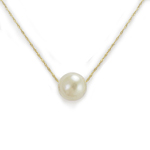 14k Necklace With 9mm Genuine White Pearl