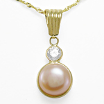 14k Gold Pink Pearl Pendant on Chain