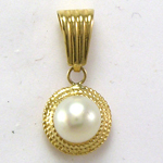 14k Gold White Pearl Charm