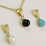 14k Yellow Gold Pearl, Onyx & Turquoise Pendant