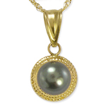 14k Gold 6.50mm Pearl Pendant