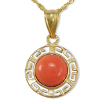 14k Yellow Gold Coral Pendant