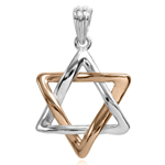 14k Rose and White Gold Star of David Pendant