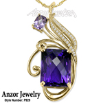 14K Yellow Gold Amethyst Diamond Pendant