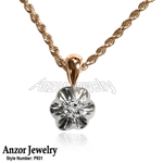 Russian Style Diamond Pendant with 14k Rope Chain