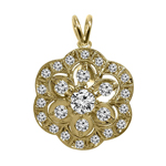 14K Yellow Gold Diamond Russian Style Pendant