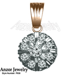 14K Two-Tone Gold Diamond Russian Style Pendant