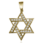 Diamond Star of David Pendant in 14K Yellow Gold,