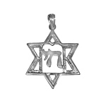 14k Gold Jewish Star of David Pendant 14k חי