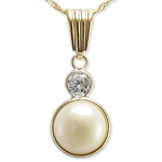 14k Pearl Pendant on Chain Necklace