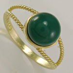 14k Gold Round Green Onyx Ring